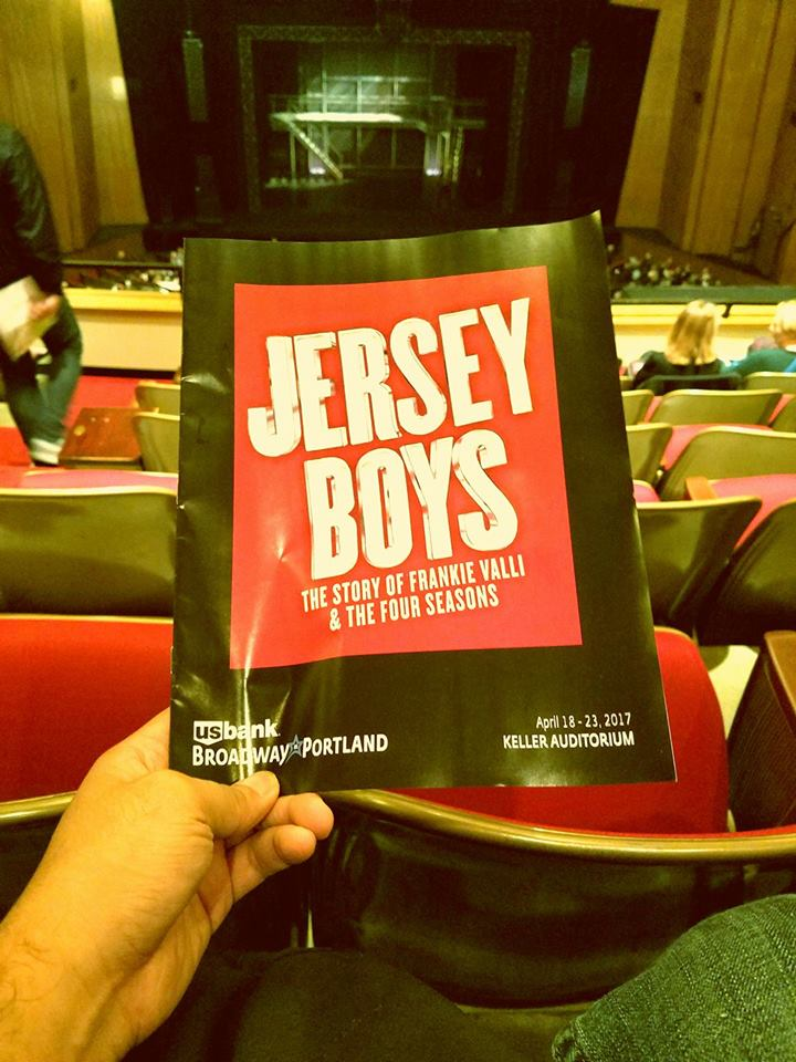 "Watched the national tour of the musical ""Jersey Boys."" Oh the lengths I'd go (Portland) to see a show. While we had a hard time understanding some lyrics/dialogue (typical of the PNW), it was worth it. So many oldies hits!"