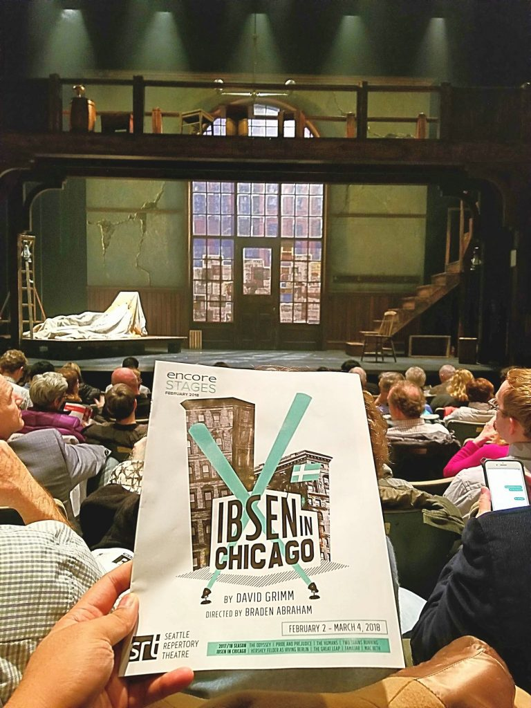 "Watched the play-in-a-play ""Ibsen in Chicago."" European working class immigrants with secrets try to make it in America and put on the play ""Ghosts."" Prima Donna character was pretty funny."