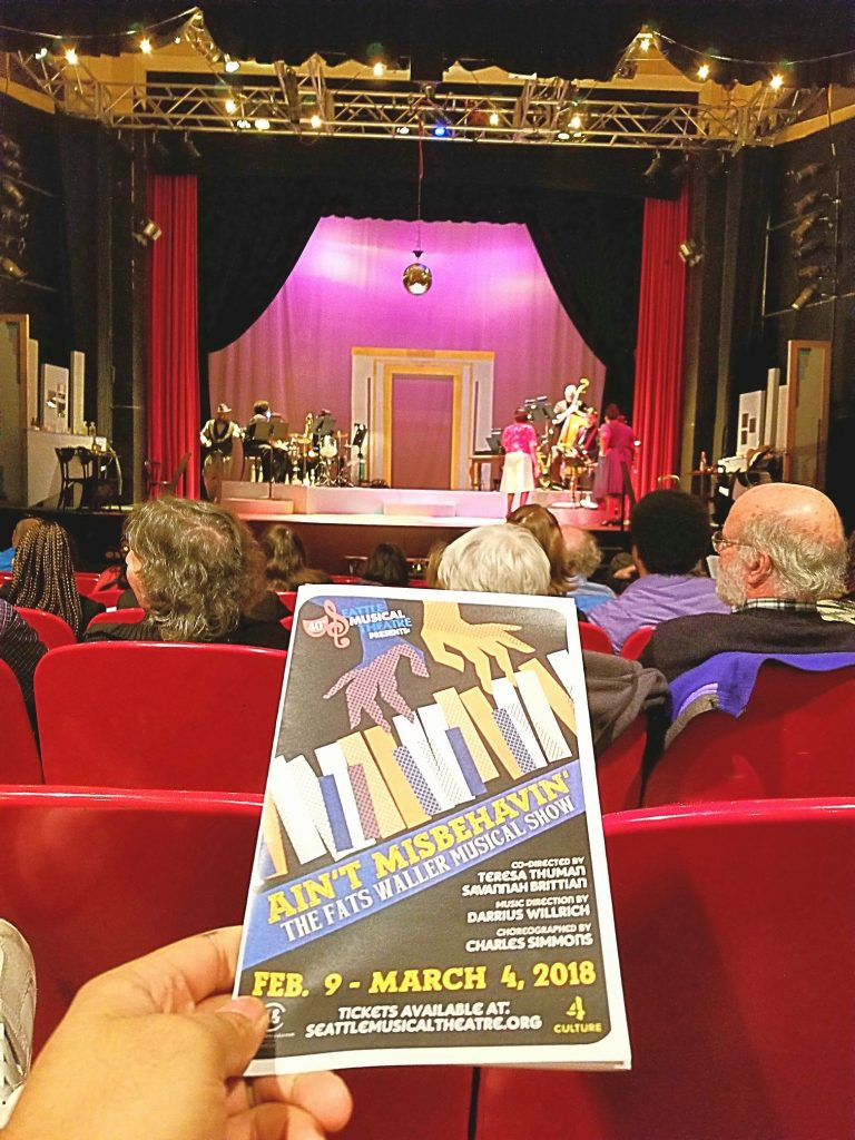 "Opening night to ""Ain't Misbehaving - The Fats Waller Musical Show."" Didn't realize this was a musical revue ... not a musical. That's what I get for not reading up about what I attend! ?It's a shame the bad sound system setup distracted from the amazing voices."