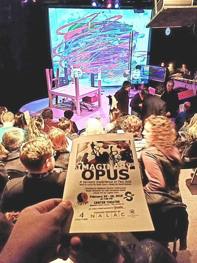 "Opening night to the musical/artshow ""Imaginary Opus."" No substantial plot. Just the message that everyone is a special snowflake. ? — attending Imaginary Opus: A Sensory Experience in Two Acts at Seattle Center."