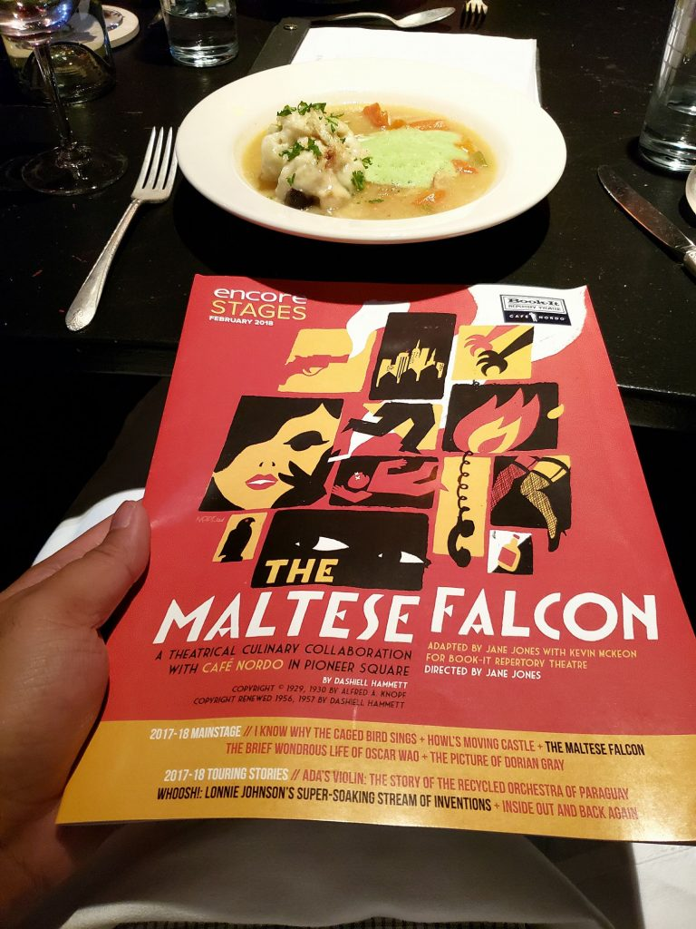 Dinner theater watching the fast-paced stage adaptation of The Maltese Falcon. My 1st exposure to noir & I'm loving it! Actors portrayed this melodramatic genre well w/o being too campy/corny. In other news, I ate truffles for the 1st time & I'm not impressed. — attending The Maltese Falcon at Cafe Nordo.
