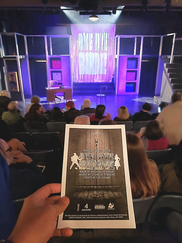 Watched Bye Bye Birdie (musical). Fluffy charming old-timey show. I'm always amazed by the great talent from this lil ole theatre in Redmond (of all places). — attending Bye Bye Birdie at SecondStory Repertory.