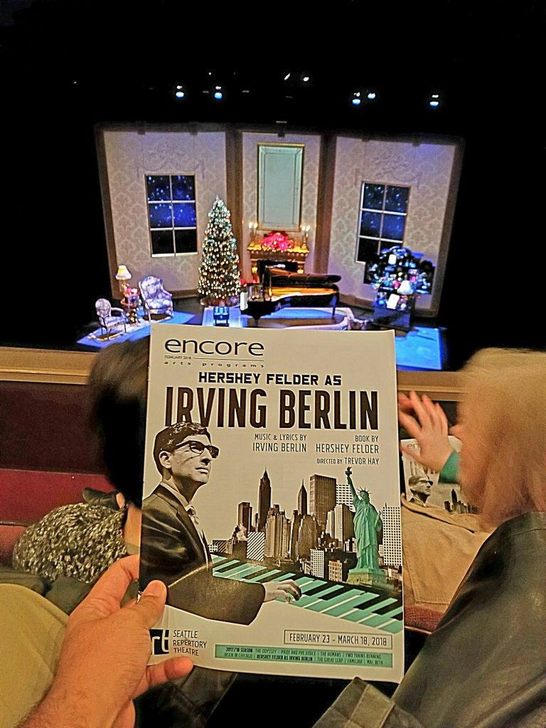 "Evening performance of ""Hershey Felder as Irving Berlin."" Not a fan of one-man shows and only knew a few songs but could tell he was really talented. Would have liked to see his previous show on Frederick Chopin. — attending Hershey Felder as Irving Berlin at Seattle Repertory Theatre."