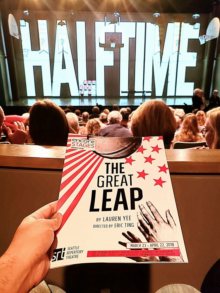 "World premiere of ""The Great Leap"" play. Chinese American basketball player stars in a USA vs communist China game held during the Tiananmen Square Massacre. Not a fan of sports and politics but this was sooo so good! — attending a performance at Seattle Repertory Theatre."
