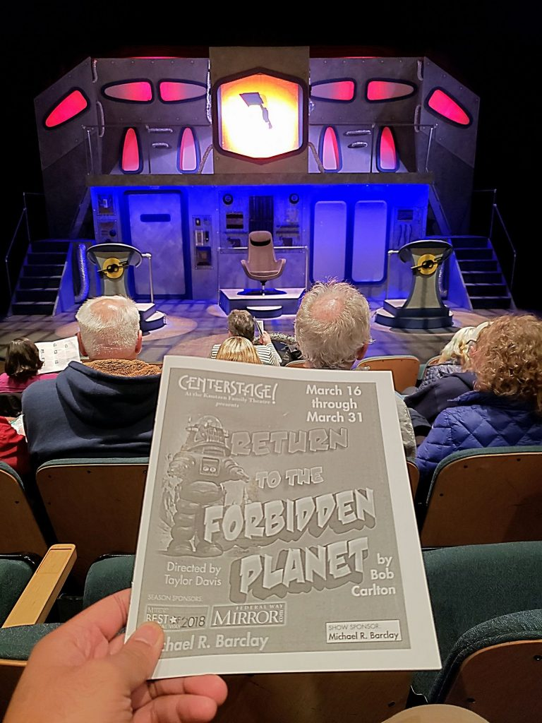 Traveled to Siberia (Federal Way) to watch the Shakespeare-inspired sci-fri (aka cheesy) rock musical Return to the Forbidden Planet. Just ... awful! It's a shame cause the set was good & 1/2 the actors were inherently talented. Wasn't sure if the lead actor lost his voice. — attending Return to the Forbidden Planet [Final Weekend] at Centerstage Theatre.
