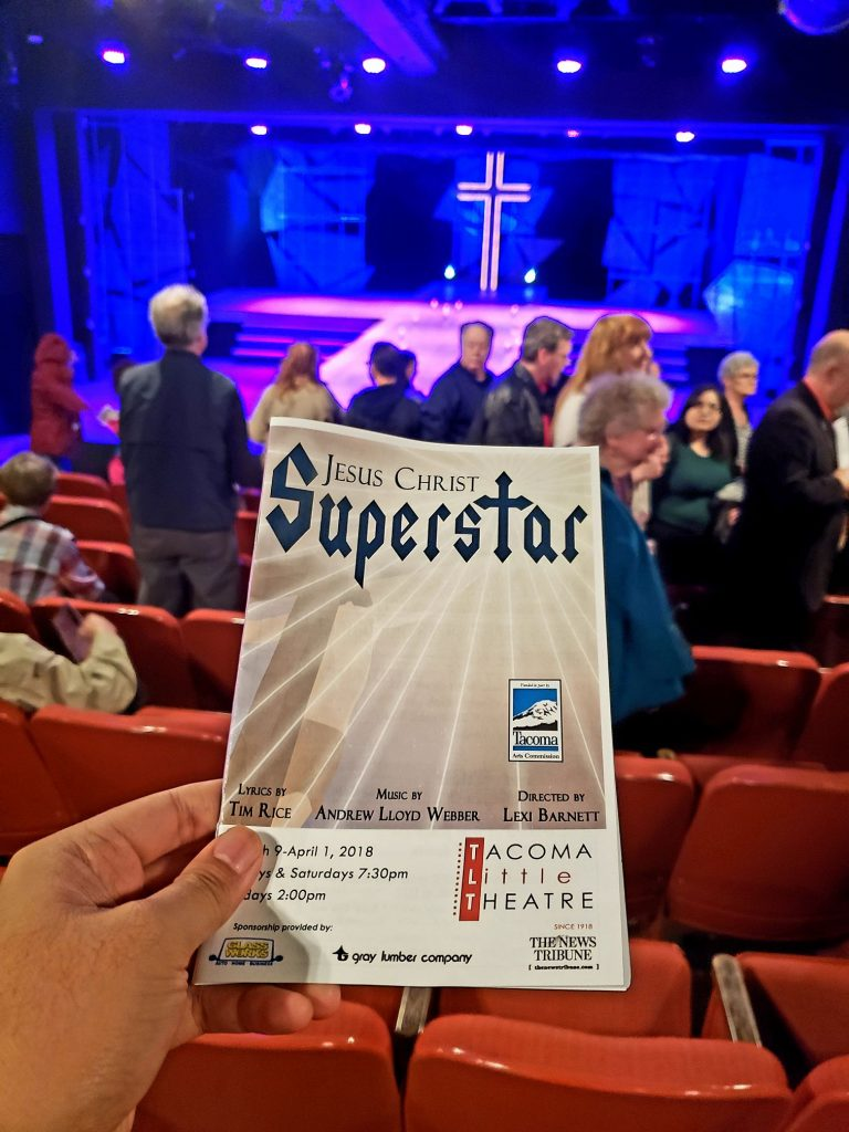 Easter Sunday matinee of Jesus Christ Superstar musical. Not terrible but not amazing either. They used accompaniment recording (instead of a live band), which is one of my theatre pet peeves. — attending Jesus Christ Superstar at Tacoma Little Theatre.