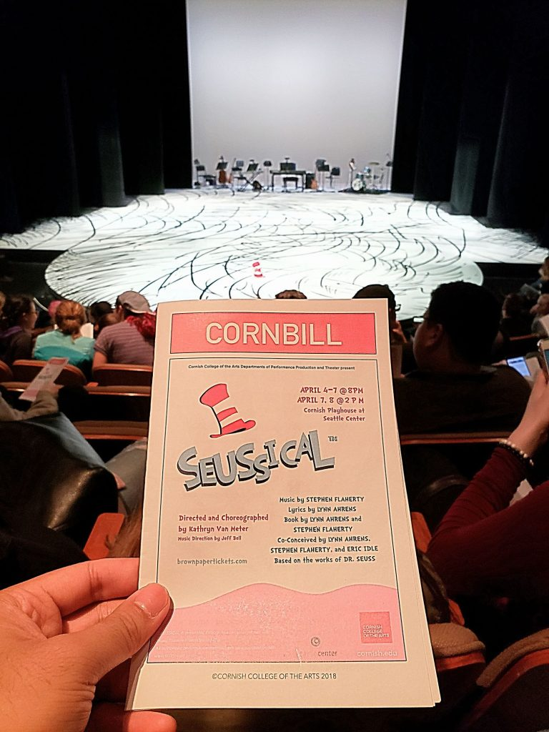 Watched the nonsensical Seussical the Musical. Not bad. My main request: if gender bending casting, make sure the actors don't sing an octave lower than the original parts. Or at least transpose the dang song! — attending Seussical at Cornish Playhouse At Seattle Center.