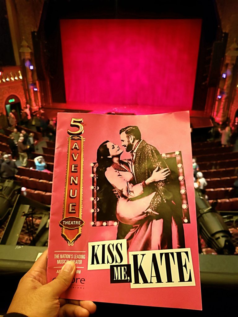 Opening night to Kiss Me, Kate musical featuring songs by Cole Porter. Originally saw in a community theater (Seattle Musical Theatre) and man, the professional production is so much better! — attending Kiss Me, Kate at The 5th Avenue Theatre.