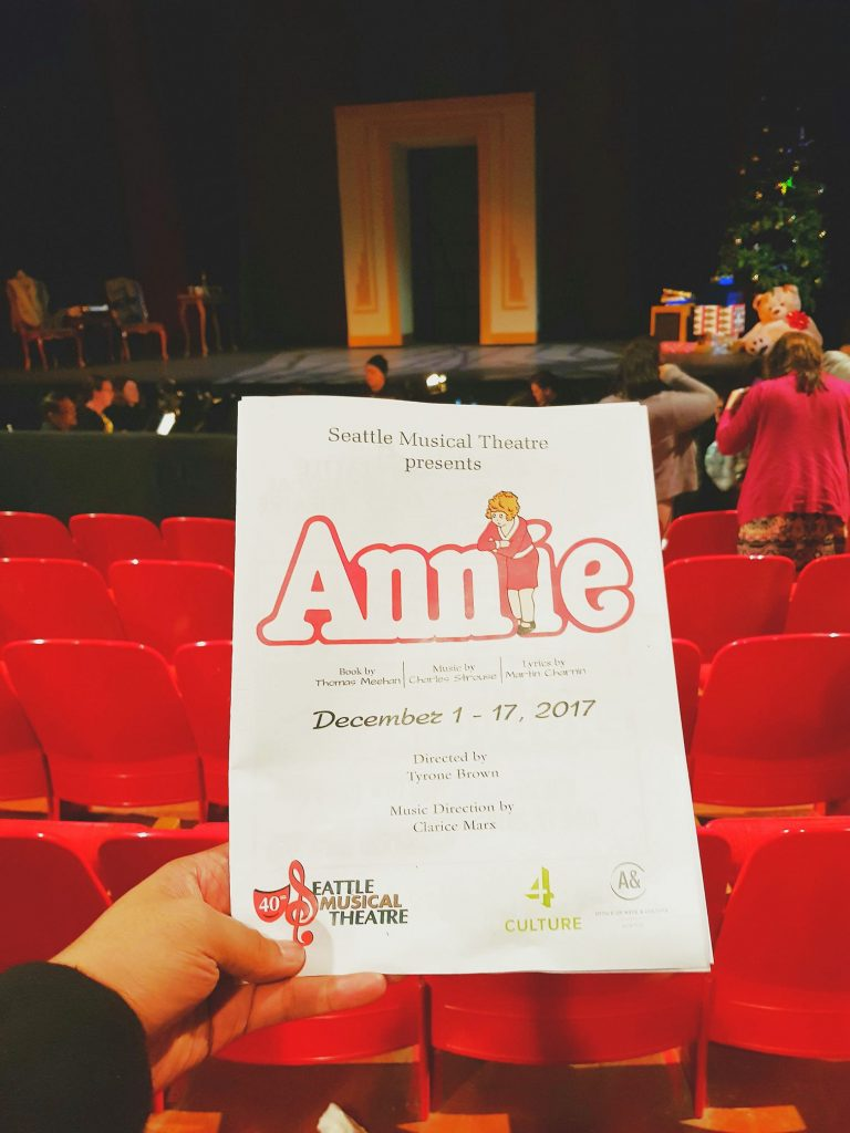Watched Annie the Musical - saccarine story of a creepy billionaire's obsession with an orphan girl. Lead actress had a great voice but where'd yo groovy 70s afro go gurl?! — attending Annie - Thursday, Dec. 14, 2017 / 7:30pm at Seattle Musical Theatre.