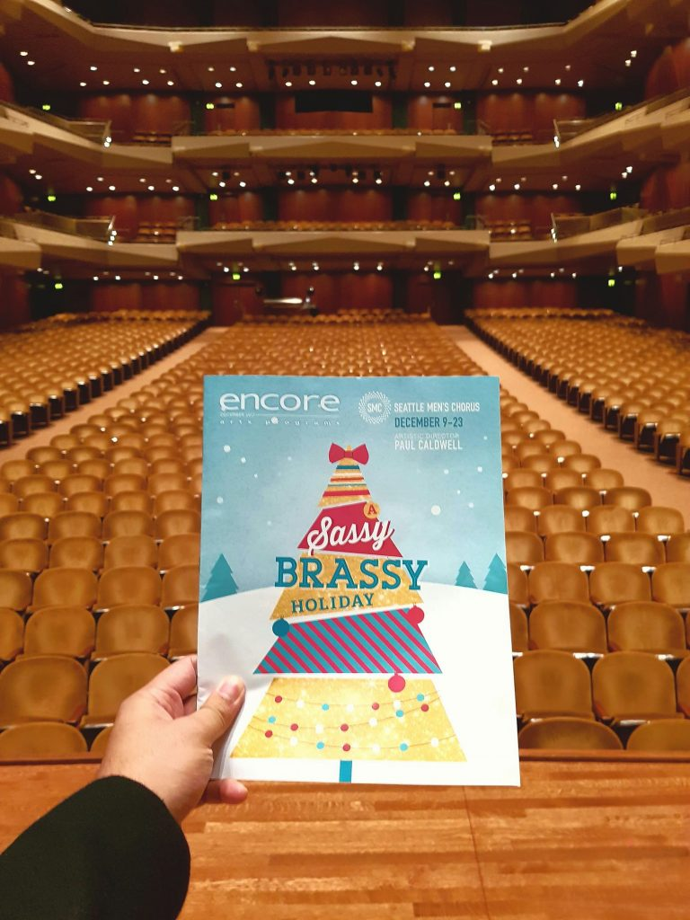 "Whew! Finished performing last Christmas concert (of nine!) with the Seattle Men's Chorus. ""Oh, I hope you have a super gay Christmas!"" — attending A Sassy Brassy Holiday at Benaroya Hall."