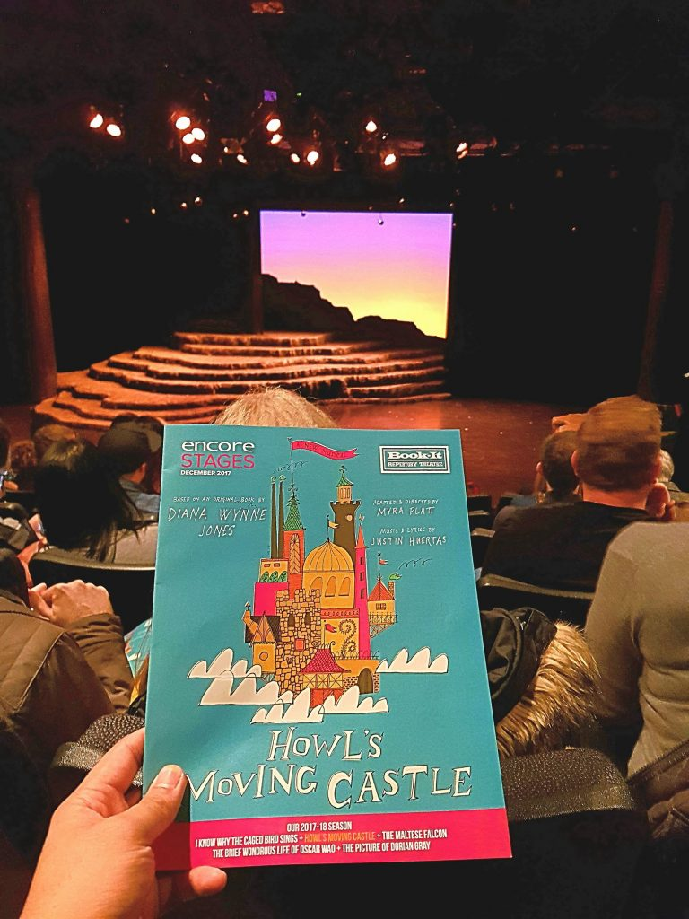 After waiting 2 hrs for standby tickets (for the 2nd time), I finally got matinee seats to the sold out musical stage adaptation of Howl's Moving Castle. So worth it! Such an intricate story. I'll excuse the fire evacuation interruption in the middle and the liberal use of triple-role casting. — attending Howl's Moving Castle, a new musical at Book-It Repertory Theatre.