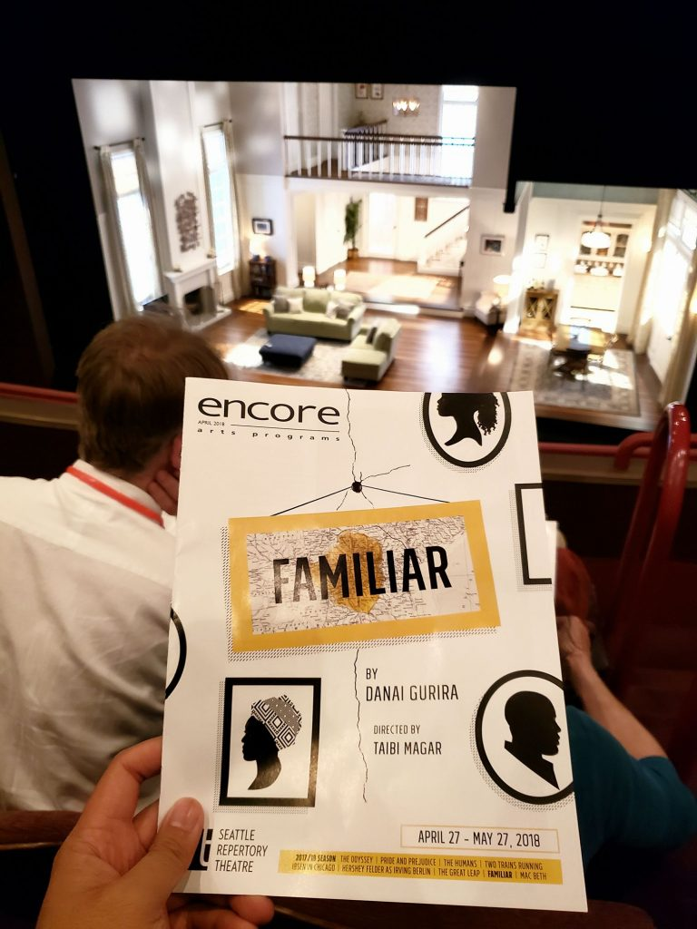 "Evening performance of the play ""Familiar."" Hilarious relatable commentary on first-generation immigrant cultural identity after American assimilation. And of course in typical Seattle fashion, there was brief nudity out of nowhere. ? — attending Familiar at Seattle Repertory Theatre."