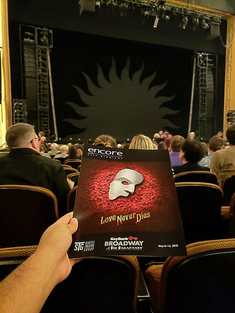 Evening performance of Love Never Dies (sequel to The Phantom of the Opera). Beautiful theme song! Act 1 started weak but Act 2 ended strong (seems to be the opposite of most musicals). — attending Love Never Dies at Paramount Theatre.