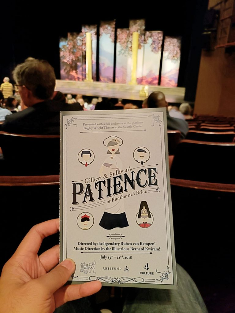 Watched Patience, or Bunthorne's Bride unaware that it was an 1800s opera instead of a musical. I imagine Spamalot would have been like this if produced more than a century ago. Terribly corny! — attending Patience, Bunthorne's Bride at Seattle Repertory Theatre.