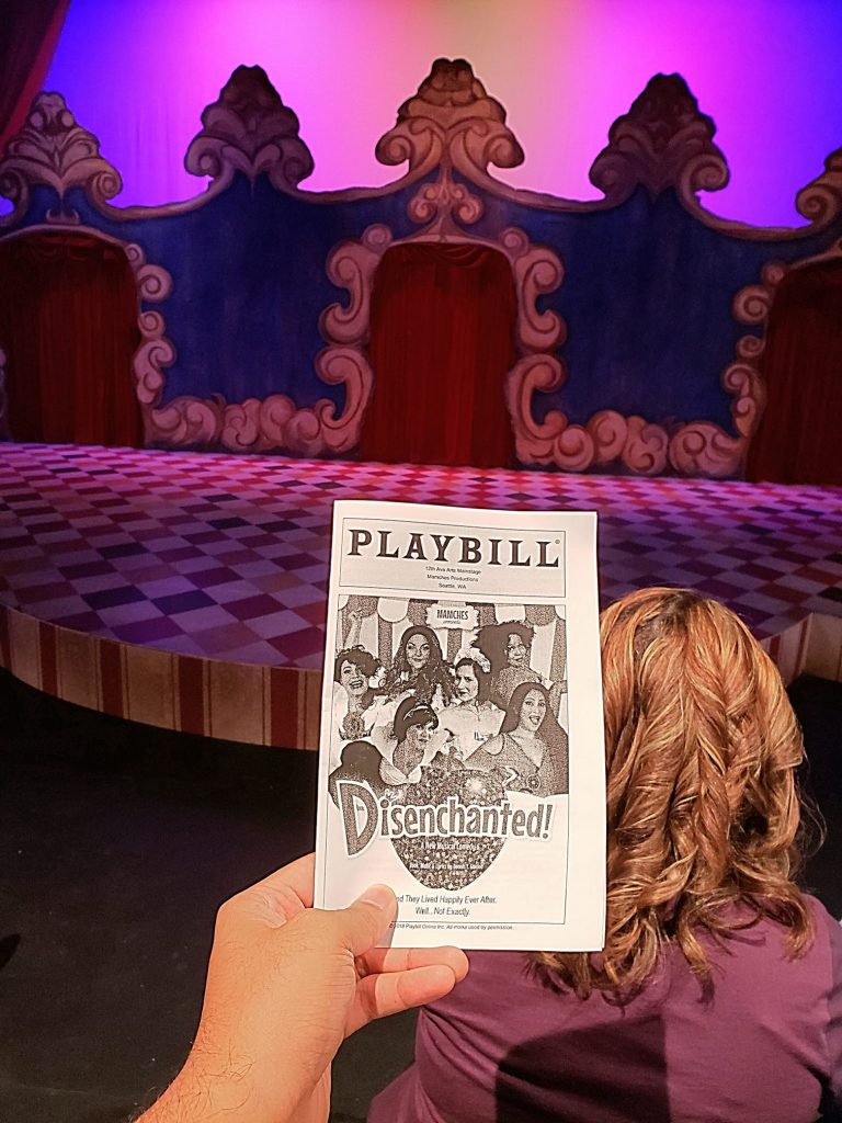 Watched Disenchanted - A New Musical Comedy, a parody of Disney princesses. Huge stage. Funny but borderline corny. Loved the Mulan's lesbian bit. — attending Disenchanted! at 12th Avenue Arts.