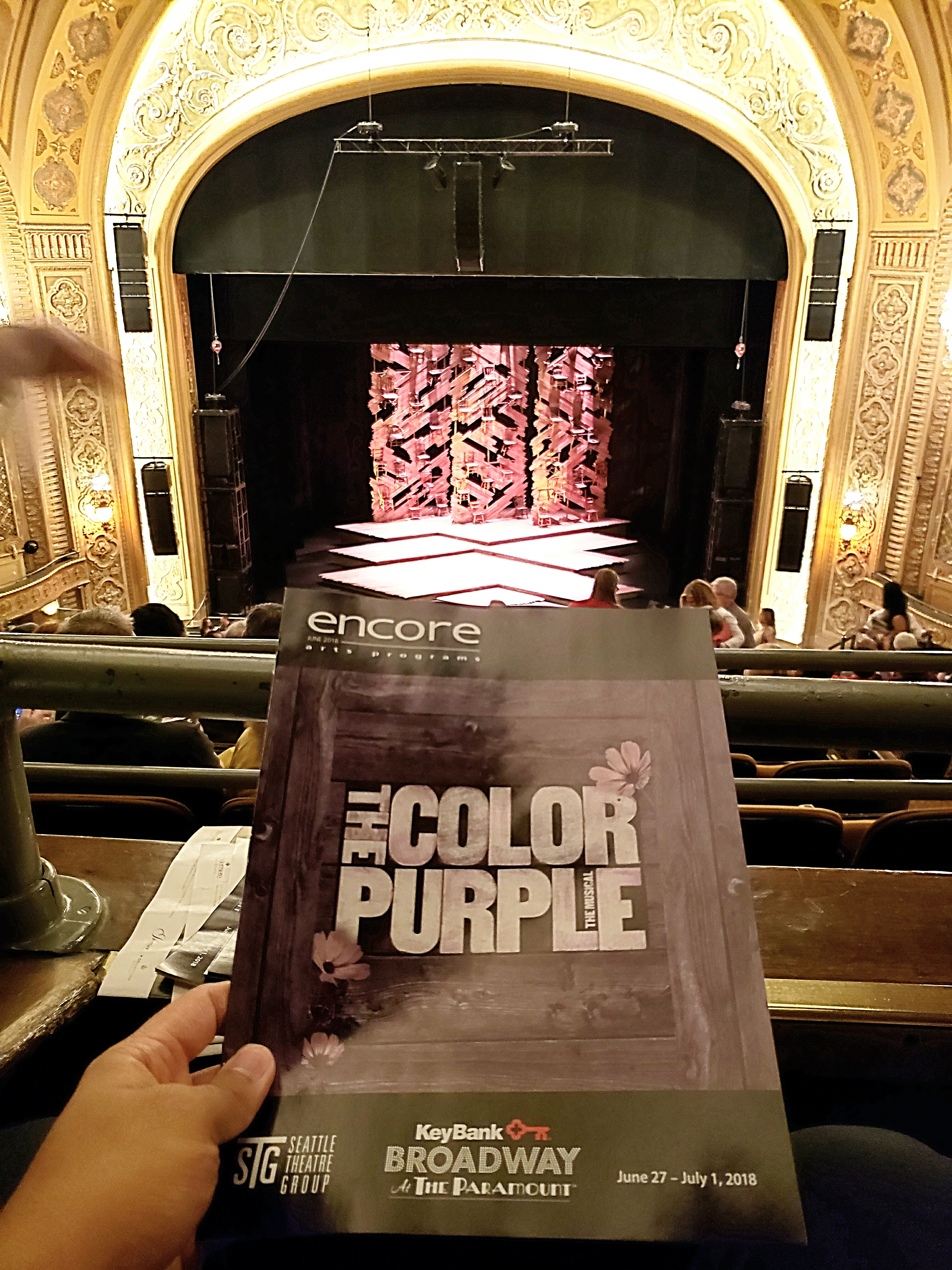 Evening performance of The Color Purple Musical. Men and the patriarchal system suck! Also, I've never seen the movie but I can't imagine Oprah Winfrey as Sofia.