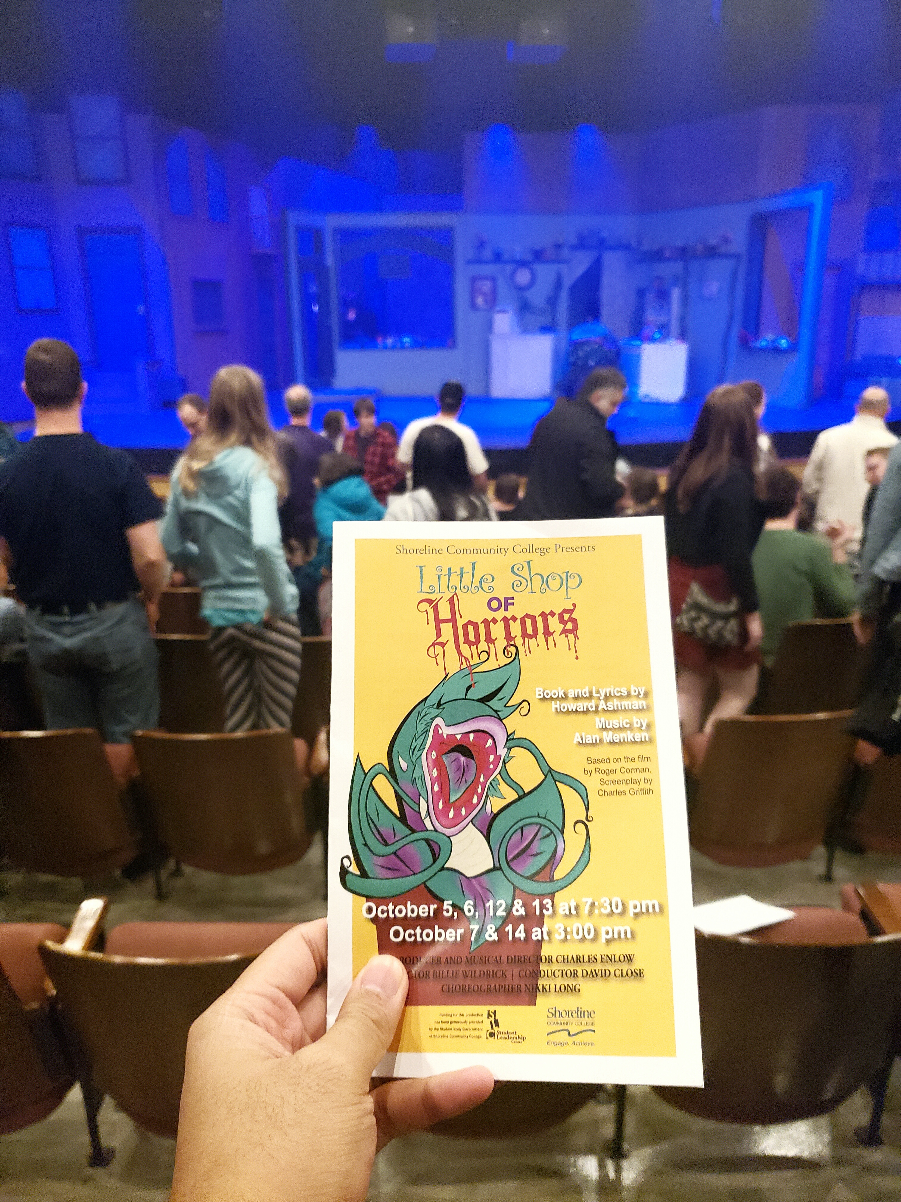 Watched the Little Shop of Horrors musical. The main characters were uniquely portrayed by puppets (like in Avenue Q). Sadly, the urchin ensemble desperately lacked its characteristic soul music quality.
