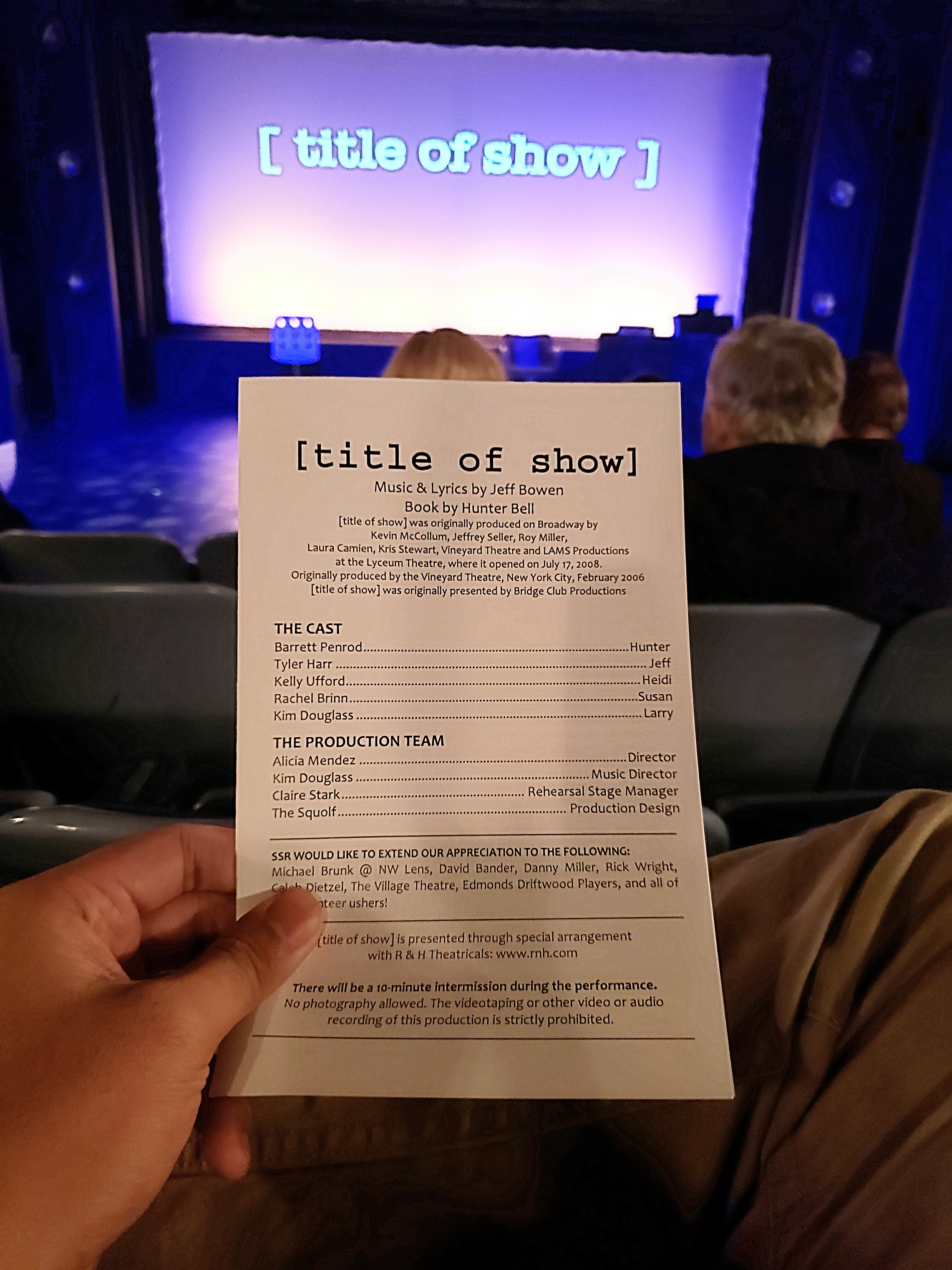 Opening weekend to the musical Title of show. Stiffer performance than what I initially saw at Bainbridge Performing Arts. But the actress that played Heidi had an amazing voice.