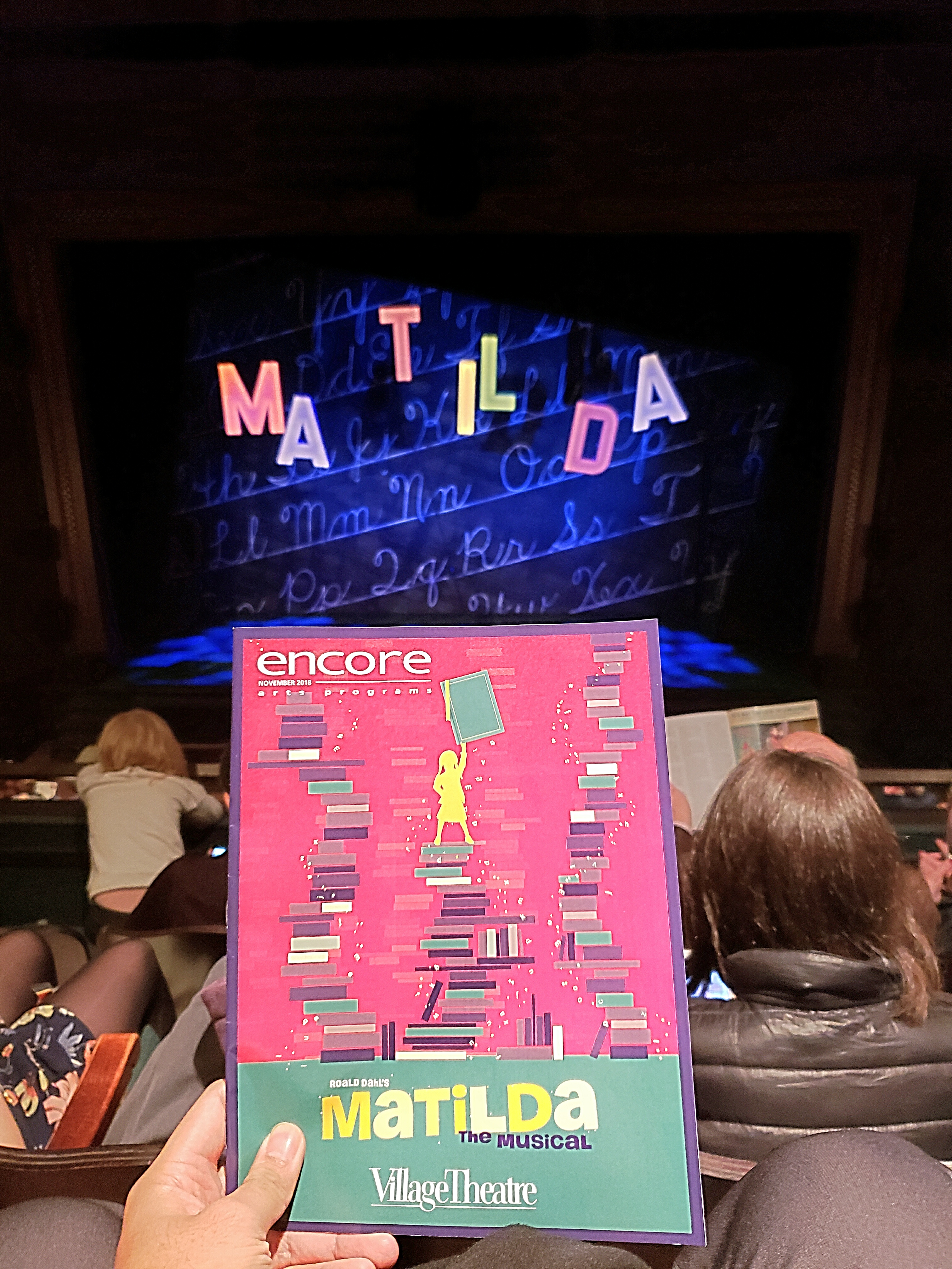 Watched Matilda The Musical, based on Roald Dahl's book. Takes me back to elementary! Too kid-friendly though ... but figured I shouldn't let my season ticket go to waste. Great quality like the national tour.