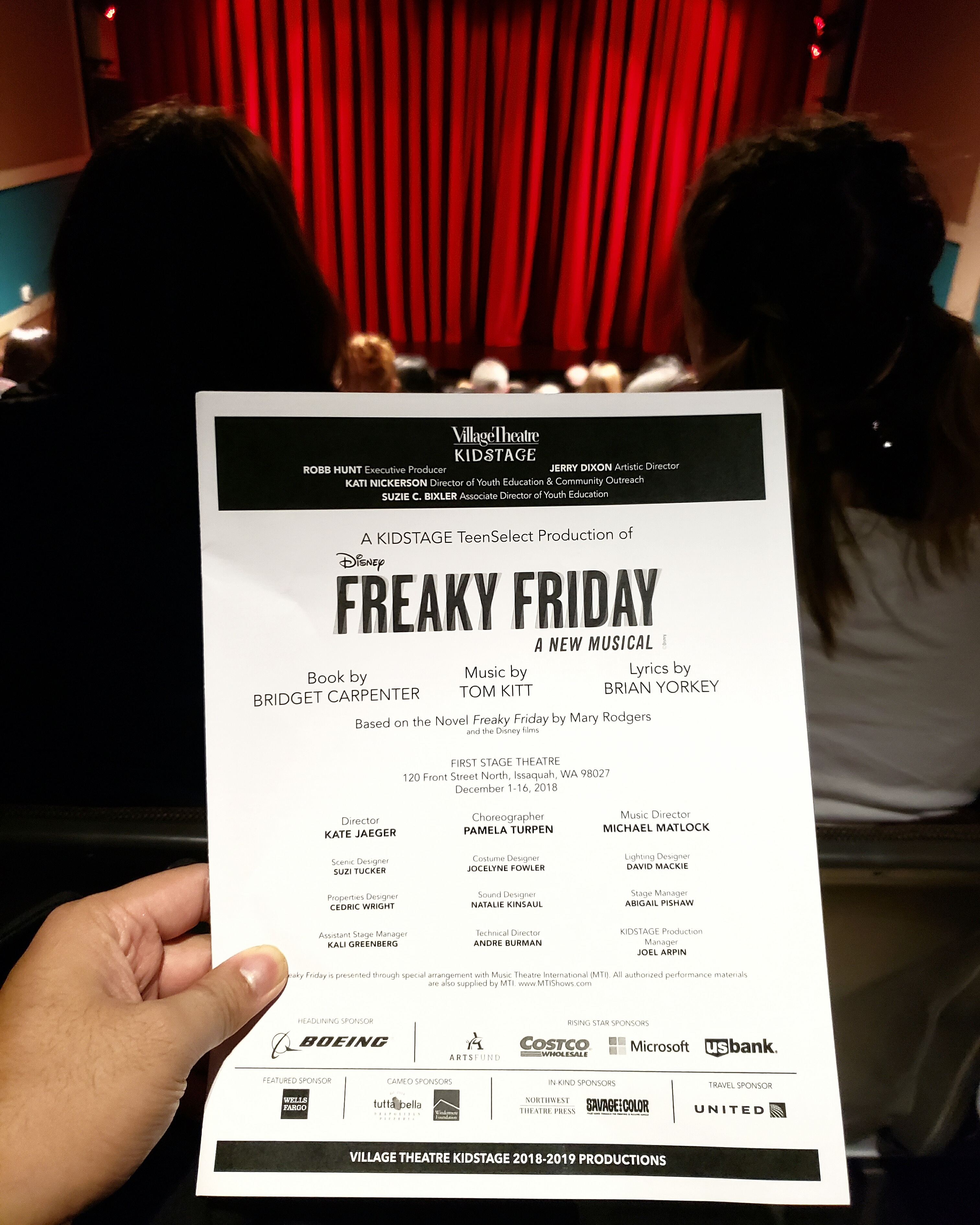 Village Theatre's last performance of Disney's #freakyfriday stage #musical adaptation. Typical generic feel of a #madefortv movie on the Disney Channel. Good songs and harmony though.