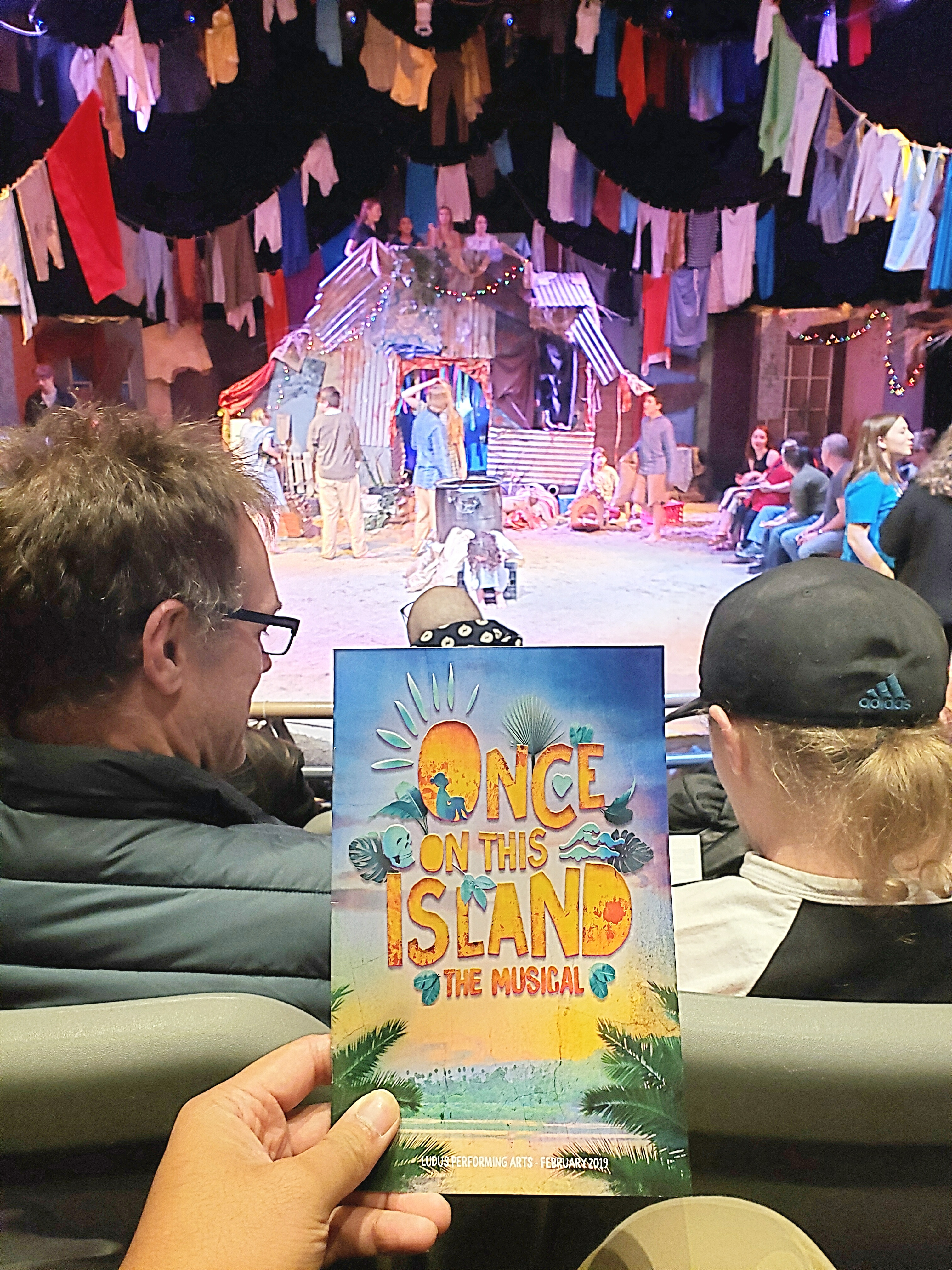 Closing performance of Once On This Island Broadway in an electric company of all places! Didn't realize this was a <18 y/o production :-/. But surprisingly promising talent & high budget ... I mean, there were live chickens, a pooping diapered goat, & sand. Actors should work on better front-facing blocking.
