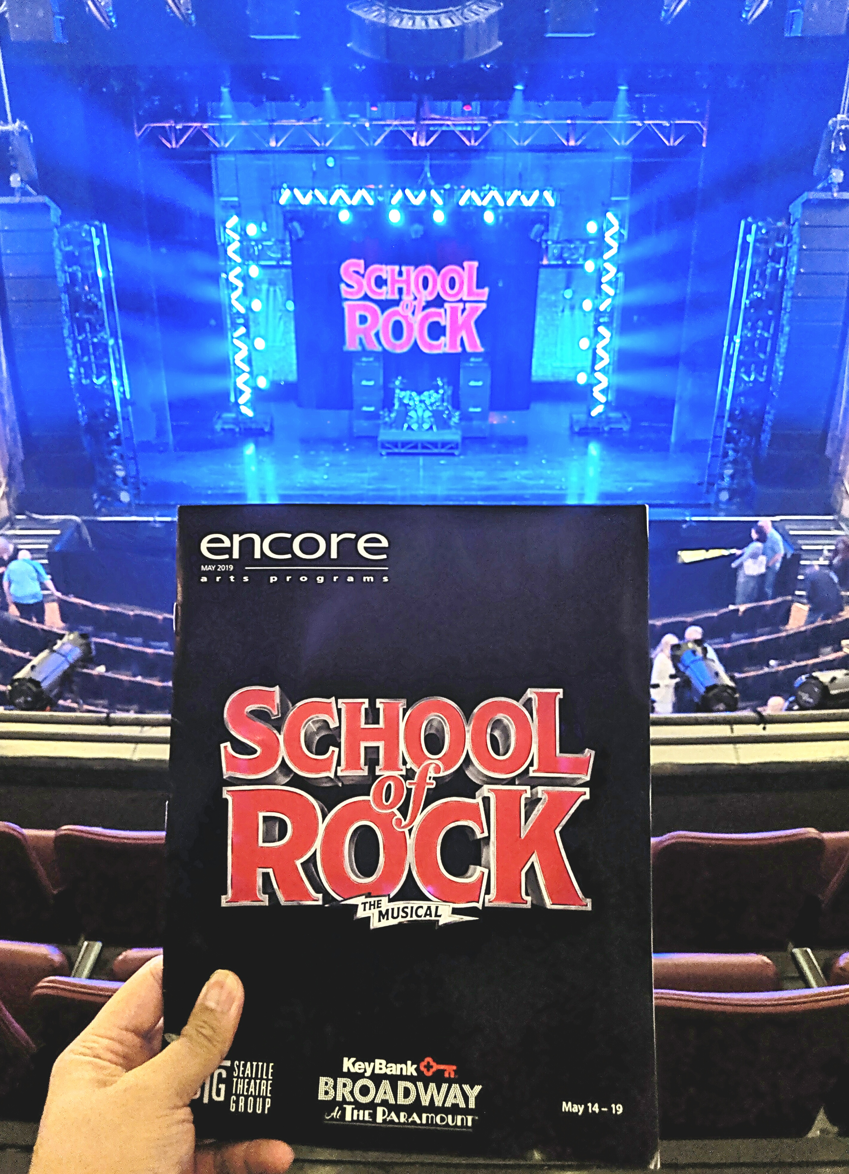 School of Rock the Musical w/ Seattle Theatre Group. #Talented kid performers but my least favorite Andrew Lloyd Webber #musical. Not a fan of shows w/ lots of #kids esp when the message is they know better than sensible adults.