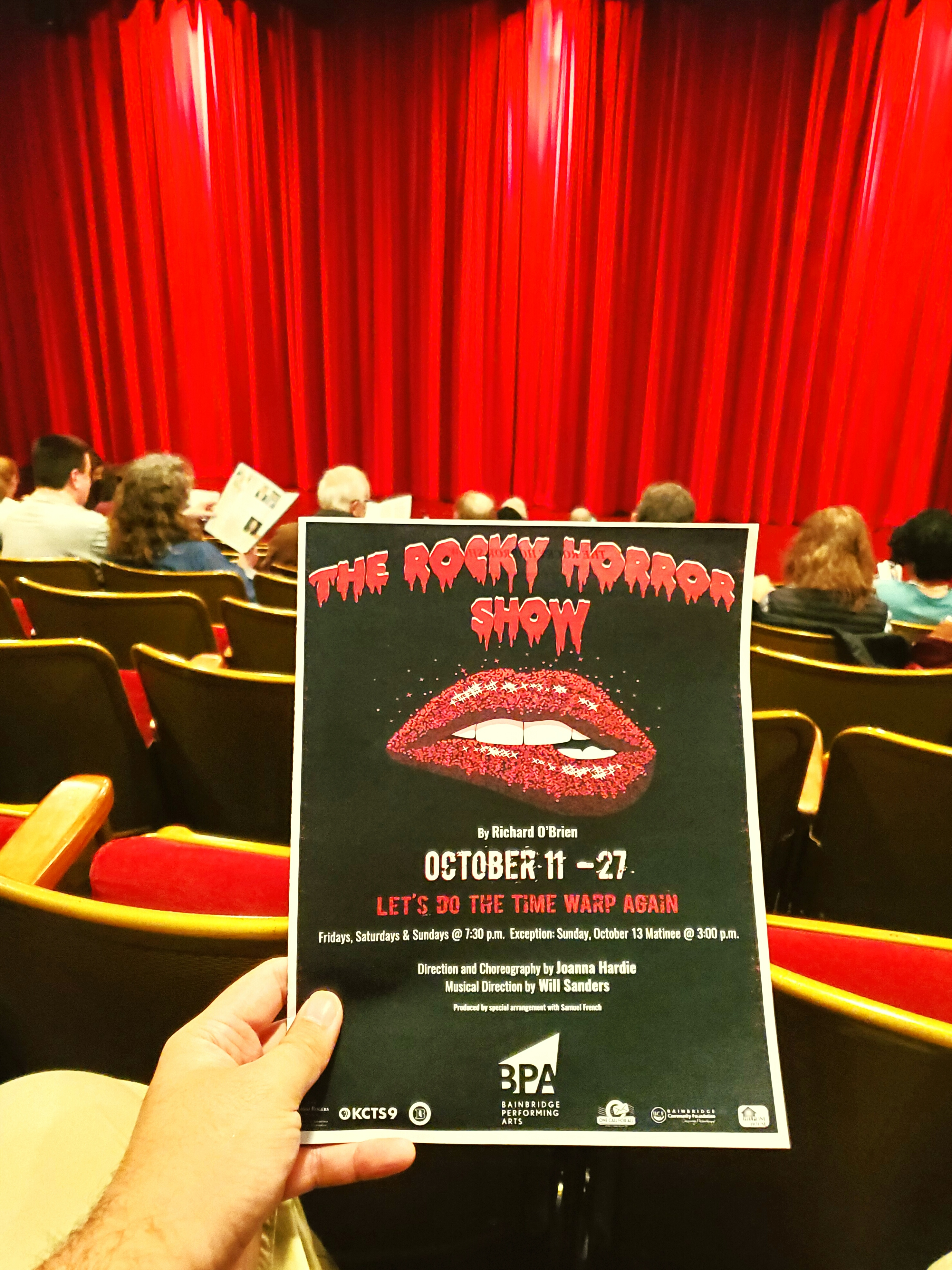 The Rocky Horror Picture Show stage #musical at Bainbridge Performing Arts. Packed #rowdy audience in little ole Bainbridge Island, Washington.